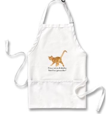 "Customized kitchen apron for cat lovers, ""Ders a Rat in de kitchen, wat i'm a gonna doo?"" motif"