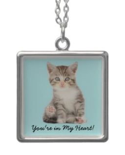 Example personalized cat jewelry pendant sterling silver for cat lovers