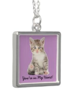 Example of a cat Jewelry - personalized cat pendant sterling silver necklace