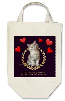 Shopping tote bag sample - cat gift idea for participants in our cat book!